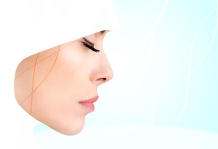 Profile photo of sensual beauty Muslim woman, closed eyes photo