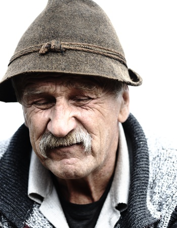 70 year old man: Old man with hat Stock Photo