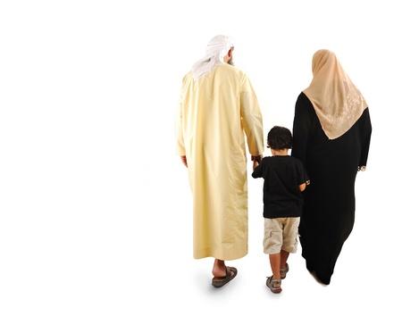 hombre arabe: feliz familia musulmana Foto de archivo