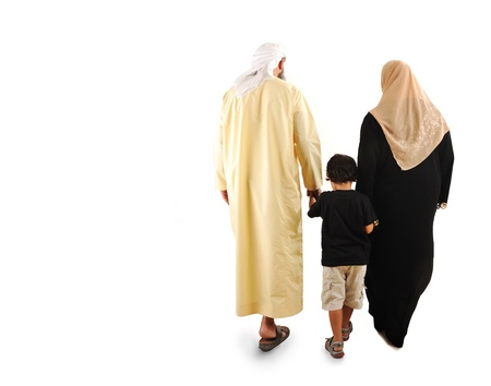 arab girl: happy  muslim family Stock Photo