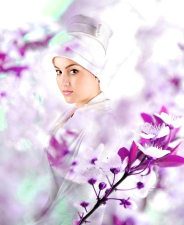 White beautiful geisha photo