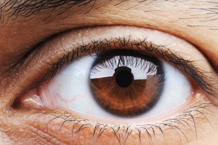 Close-up van het menselijk oog, macro-modus