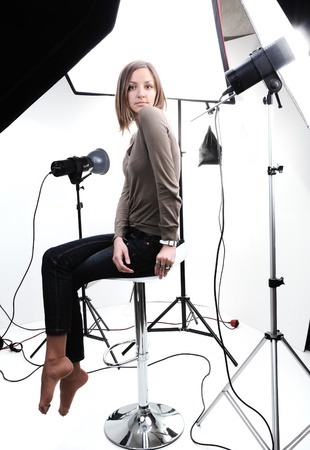 Young beautiful model posing in professionally equipped studio Stock Photo - 10317030