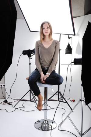 professionally: Young beautiful model posing in professionally equipped studio Stock Photo