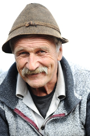 Closeup Artistic Photo of Aged Man With  Grey Mustache photo