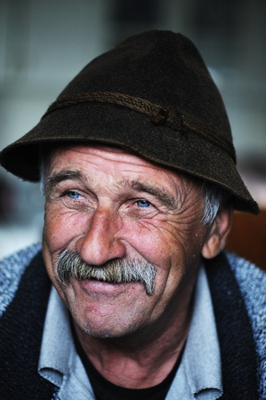 60 years old: Portrait of old man with mustache