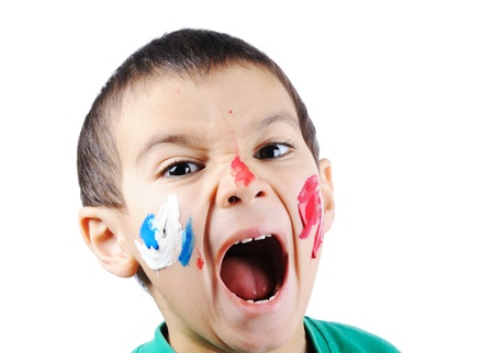 hyperactivity: Super active boy with colors Stock Photo