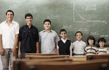 arab people: School student generations steps, from preschooler to university concept