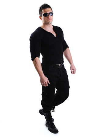 military man: Elegant young handsome bodybuilder man with clothes on