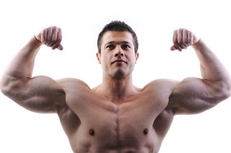 levantar peso: El cuerpo masculino perfecto - impresionante culturista posando