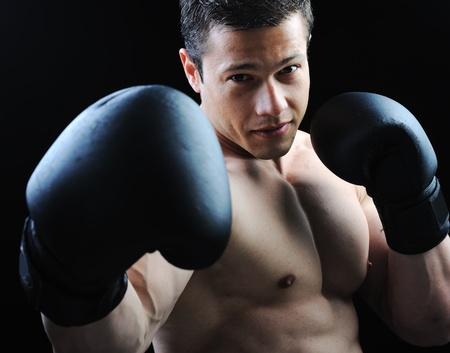arte marcial: El cuerpo masculino perfecto - combate de boxeo impresionante Foto de archivo