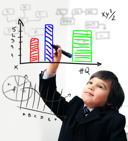 Child drawing  a diagram on digital screen Stock Photo - 10542910