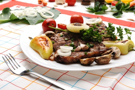 Beautiful served food on plate, meat with natural vegetables ingredients photo