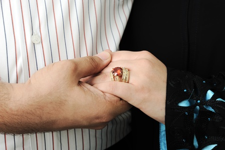 muslims: Wedding Day Bride and Grooms hands With Rings