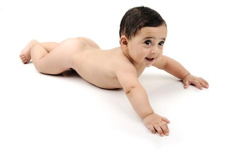 nackter junge: Naked cute baby isoliert auf weißem Hintergrund Lizenzfreie Bilder