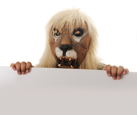 possessive: Mask lion with banner for your text