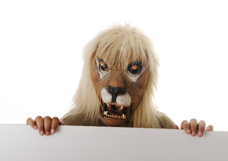 miserly: Mask lion with banner for your text