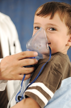 Doctor, child, inhaler mask for breathing, hospital photo