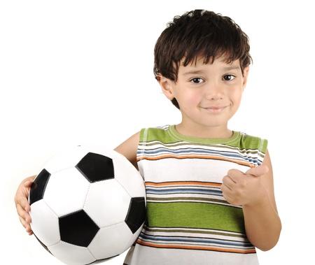 boy ball: Cute boy with ball isolated