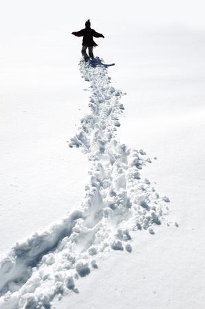 snow field: Walking in snow
