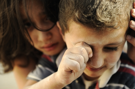 poverty relief: Little brother and sister, poverty , bad condition Stock Photo