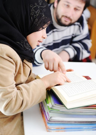 Muslim girl learning, back to school photo