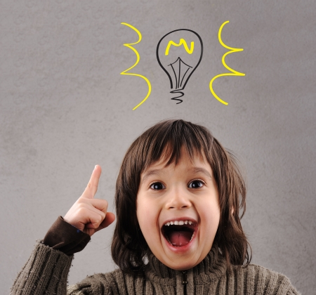 Exellent idea, kid with illustrated bulb above his head Stock Photo - 10883608