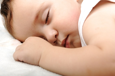 innocence: Cute baby sleeping Stock Photo