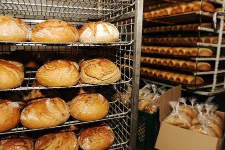 cake factory: Bread making in factory Stock Photo