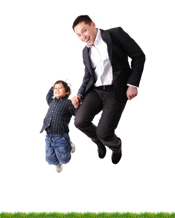 Father and son jumping Stock Photo - 10873878