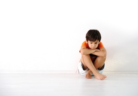 abusive: Happy children sitting at home, indoor