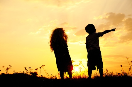 Silhouette, group of happy children playing on meadow, sunset, summertime Stock Photo - 10873879