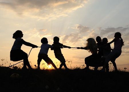 Silhouette, group of happy children playing on meadow, sunset, summertime Stock Photo - 10873881