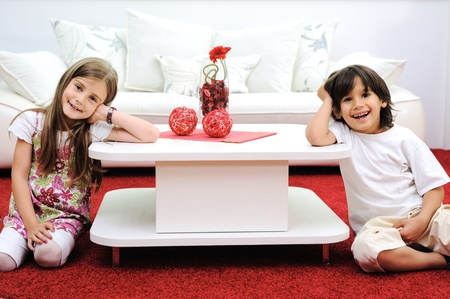 Children at new home with modern furniture Stock Photo - 11176877