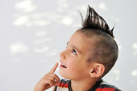 Cute little boy with funny hair and cheerful grimace Stock Photo - 11176748