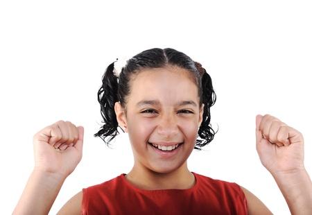 teener: Adorable  preteen school  girl wearing red dress isolated, posing