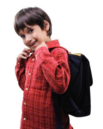 school bags: School boy with backpack