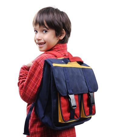 personas de espalda: Escuela de niño con una mochila