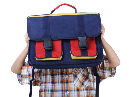Backpack for school, kid hiding behind photo
