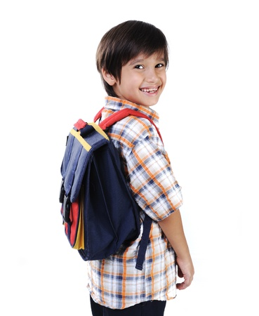 kinderen: School kid, glimlachen Stockfoto