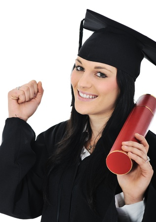 master degree: Student girl in an academic gown, graduating and diploma