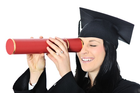 finishing school: Student girl in an academic gown, graduating and diploma