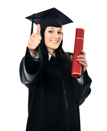 mba: Student girl in an academic gown, graduating and diploma