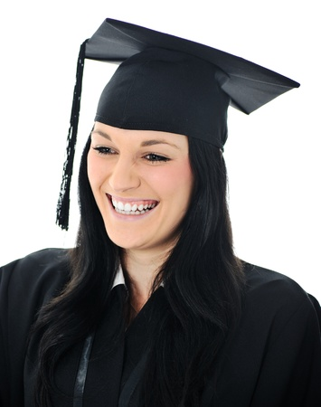 Graduate girl student in gown with diploma photo