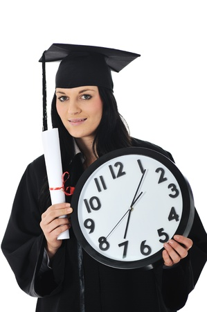 mba: Graduate girl student in gown with diploma and clock