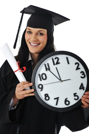 Graduate girl student in gown with diploma and clock Stock Photo - 11176745