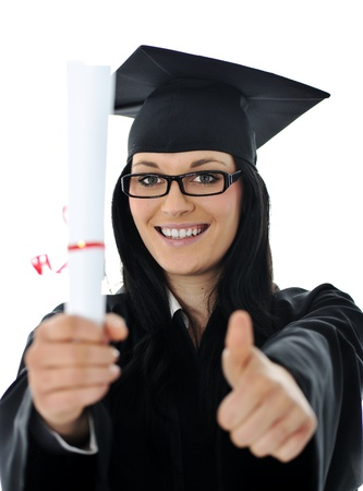 Graduate girl student in gown with diploma Stock Photo - 11176504