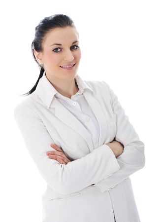 Young business woman wearing white suit Stock Photo - 11176659