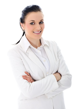 Young business woman wearing white suit Stock Photo - 11176647