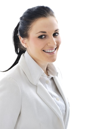 Young business woman wearing white suit Stock Photo - 11176785